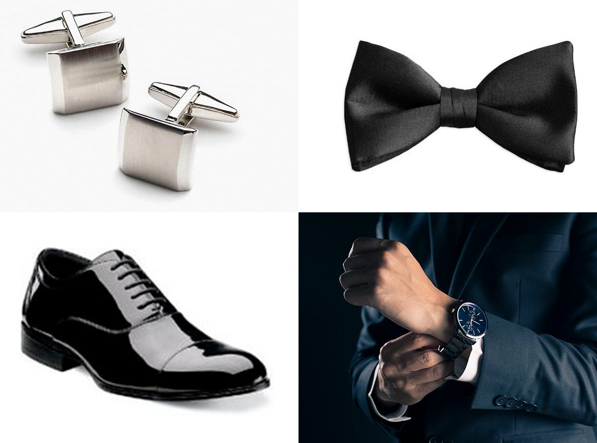 Cufflinks, bow tie, black patent shoes and watch