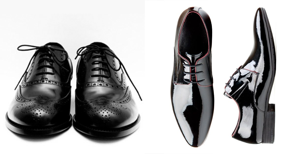 Classic round-toed black shoes and black patent shoes