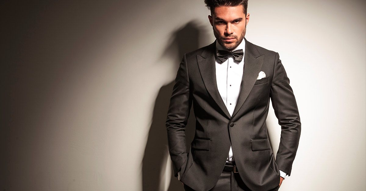 Man in grey tuxedo