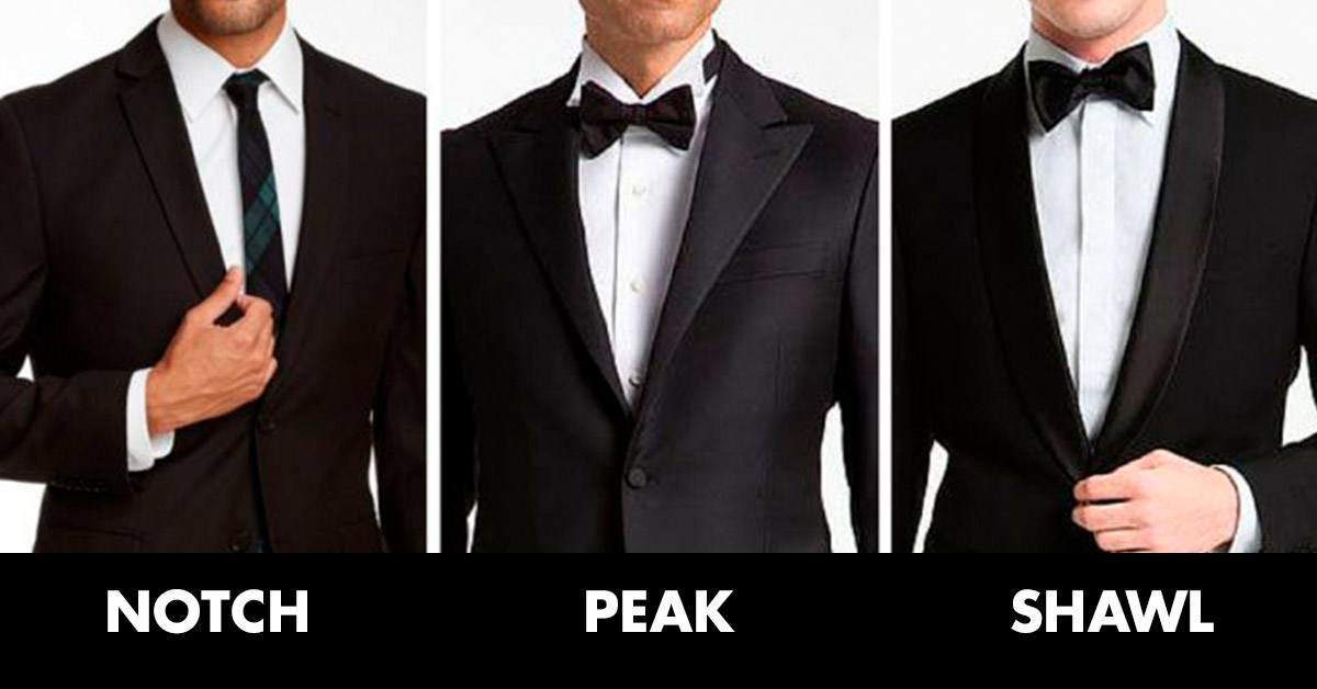 Notch lapel, peak lapel and shawl lapel