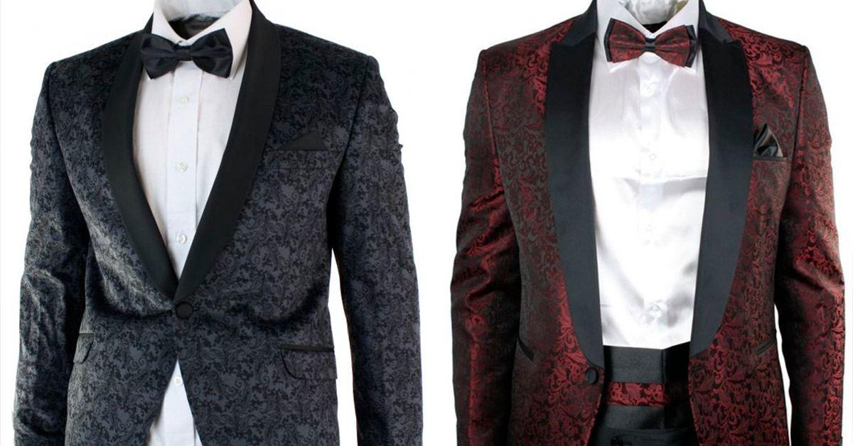 Patterned grey tuxedo and red tuxedo