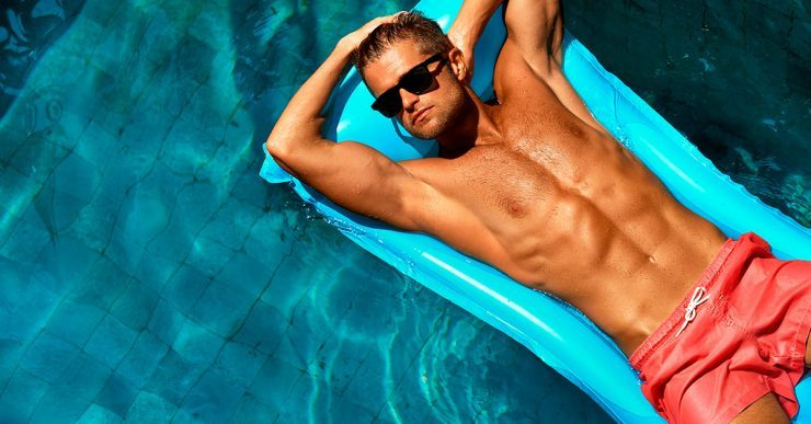 Man hanging out in the pool