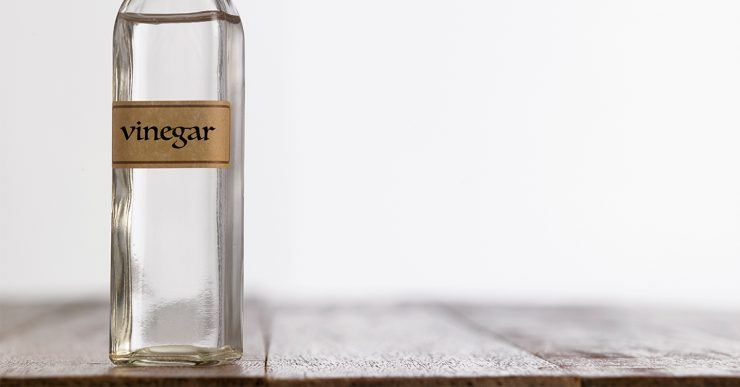 Vinegar in glass bottle