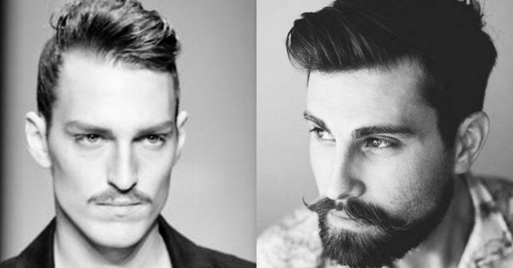 Pencil moustache and handlebar beard