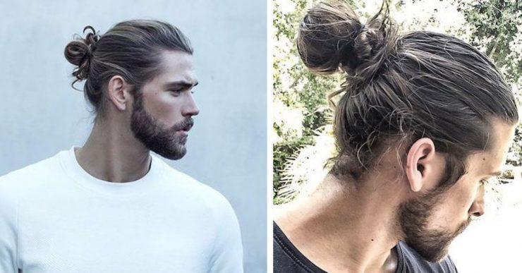 The full man bun styled or shaggy