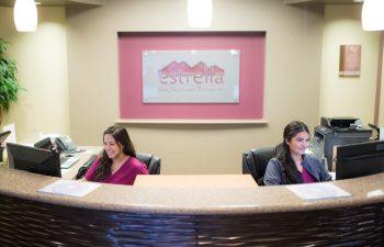 Estrella ENT receptionists at the front desk