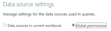 Power Query Data Source Settings