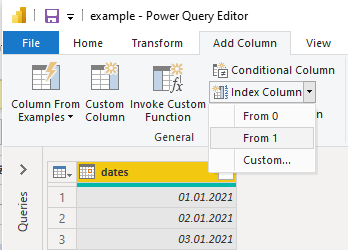 how to add index column using Power Query