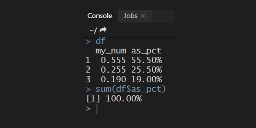 percentage formatting in R
