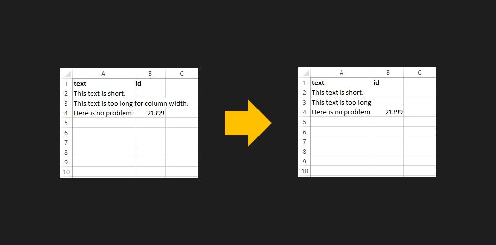 stop text overflow in Excel