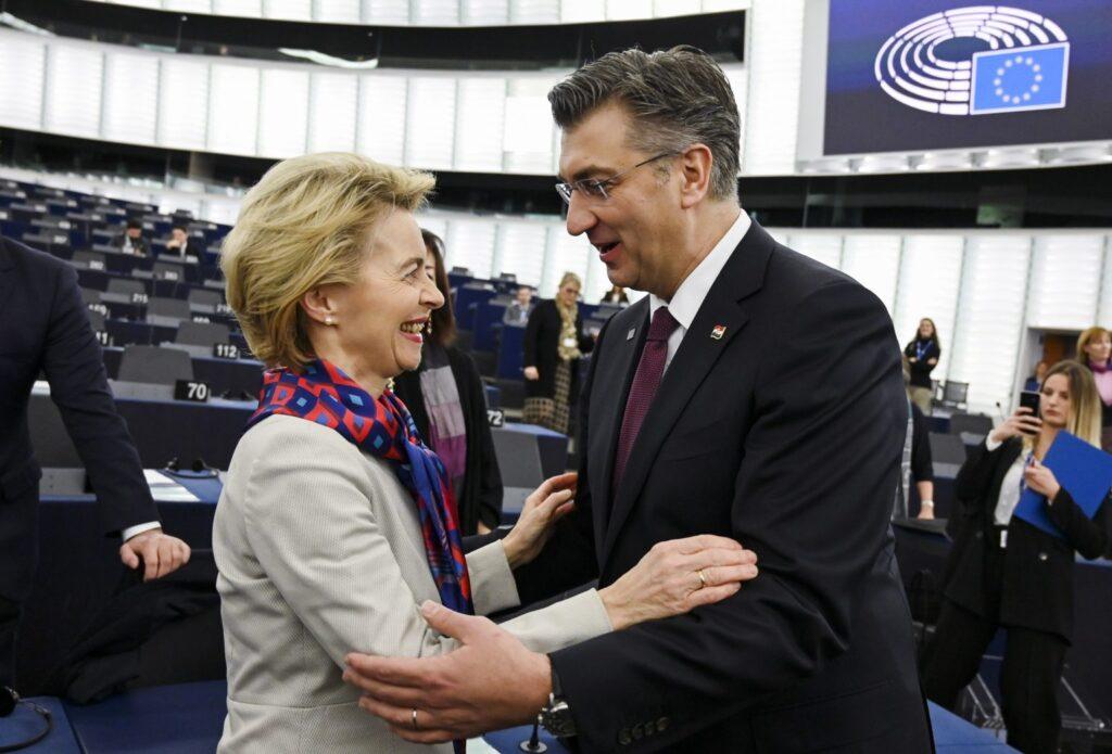 Croatia's Prime Minister Andrej Plenković with European Commission President Ursula von der Leyen | Frederick Florin/AFP via Getty Images