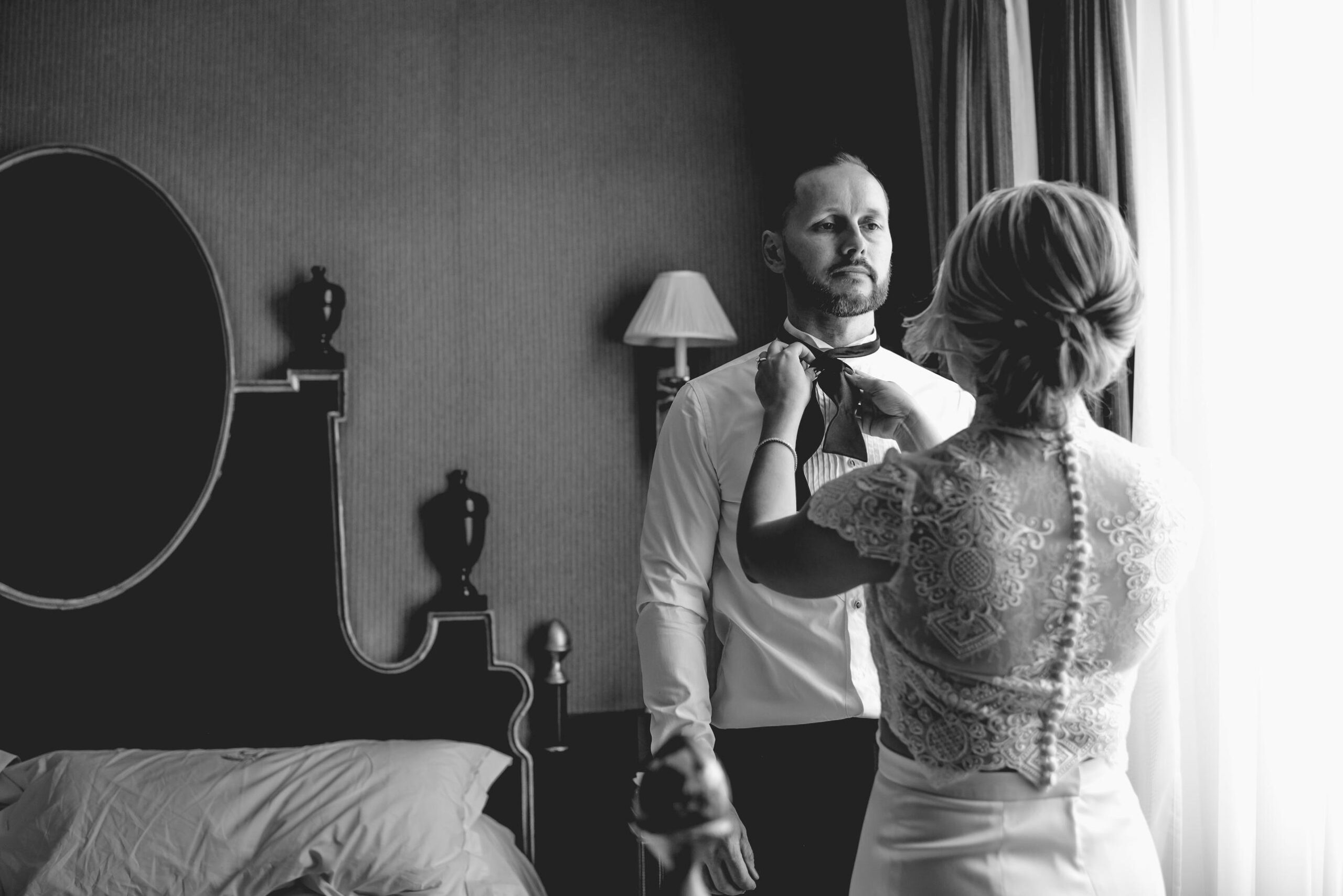 Bride and groom get ready together at their London Wedding