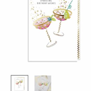 Birthday card with flowers and artificial gems