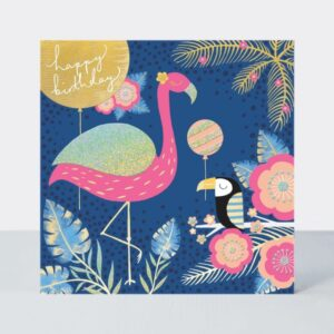 birthday card with pink flamingo and tropical background