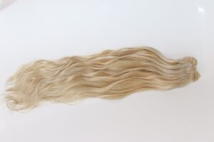 blonde double drawn hair extension weft
