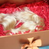 blonde double drawn hair extension weft gift box