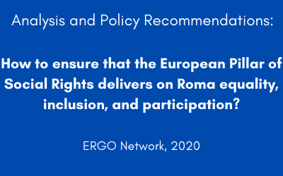 How to ensure that the European Pillar of Social Rights delivers on Roma equality, inclusion, and participation?