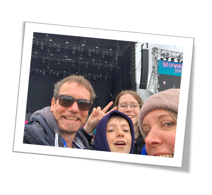 Kieron Connelly and his family at the Isle of Wight Festival in 2019