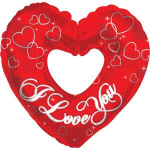 I Love You rotes Herze silberne Schrift