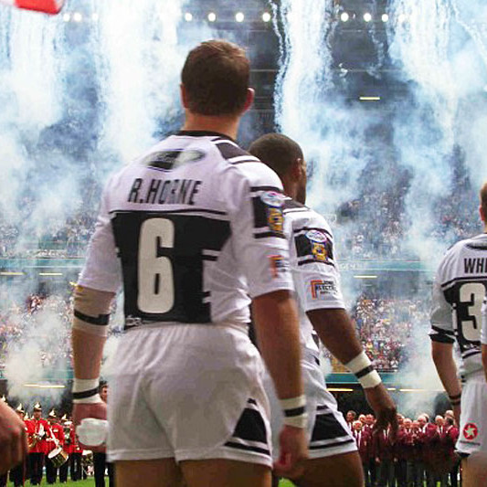 A photo of Hull players, including Richard Horne and Kirk Yeaman, walking out onto the pitch before the Rugby League Challenge Cup Final 2005
