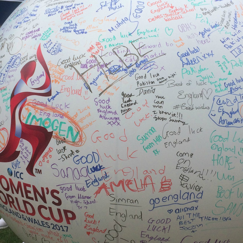 A photo of our giant graffiti cricket ball, covered in messages written by fans at the ICC Women's Cricket World Cup 2017