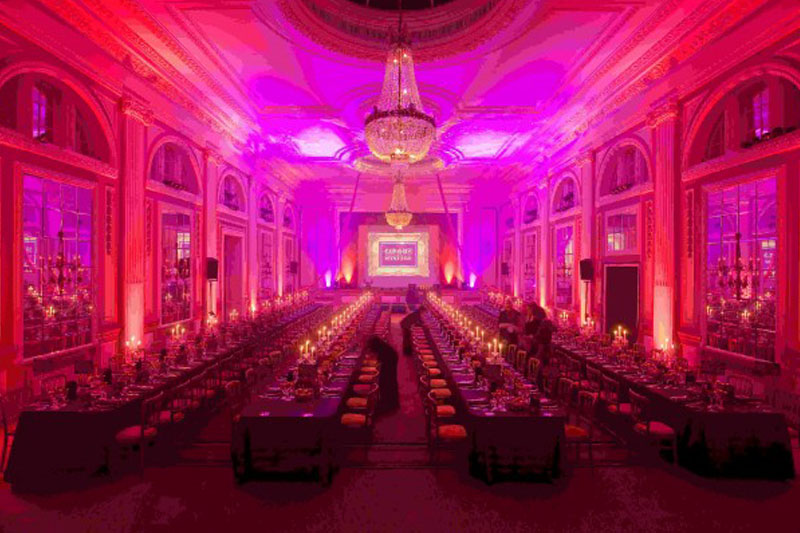A photo of a large hall set for dinner at the Gleneagles Hotel, as part of the Johnnie Walker Championship 2010