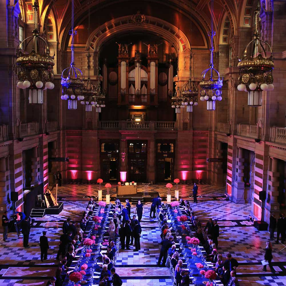 A photo showing preparations for the 2014 Ryder Cup Gala Dinner at Glasgow's Kelvingrove Art Gallery and Museum