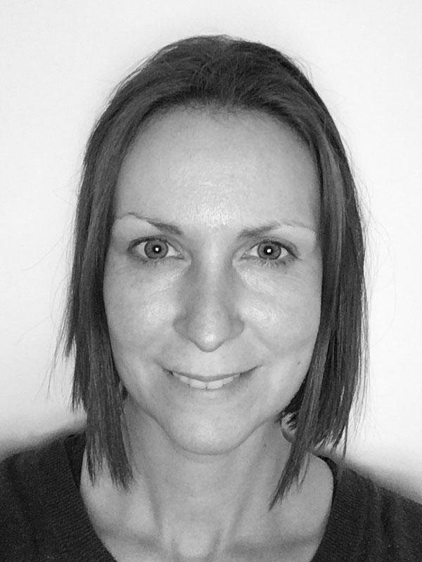 A black and white photo of Felicity Adrian of Red Sky at Night Events