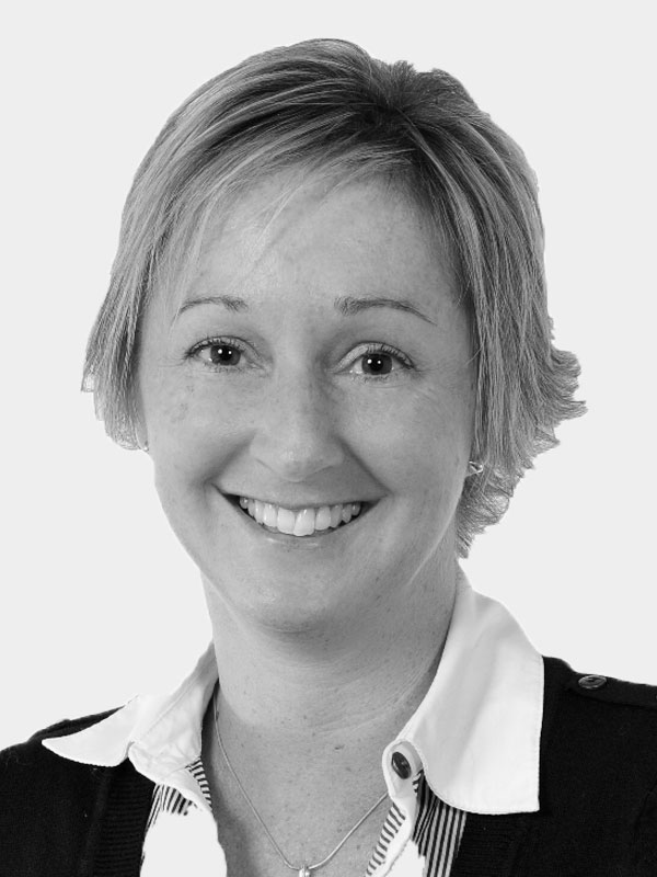 A black and white photo of Tracey Francis of Red Sky at Night Events