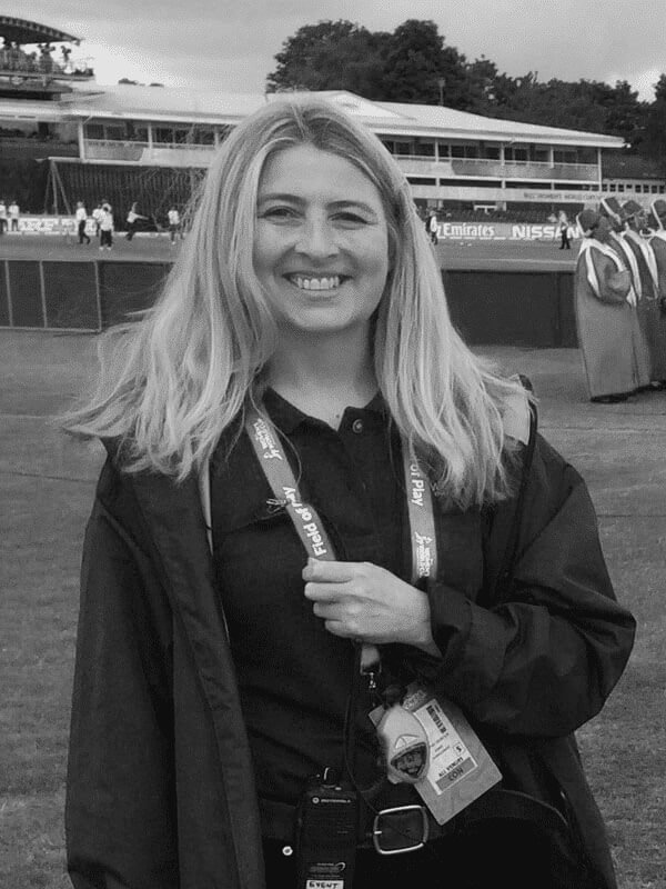 A black and white photo of Jenny Gilmour, Managing Director of Red Sky at Night Events
