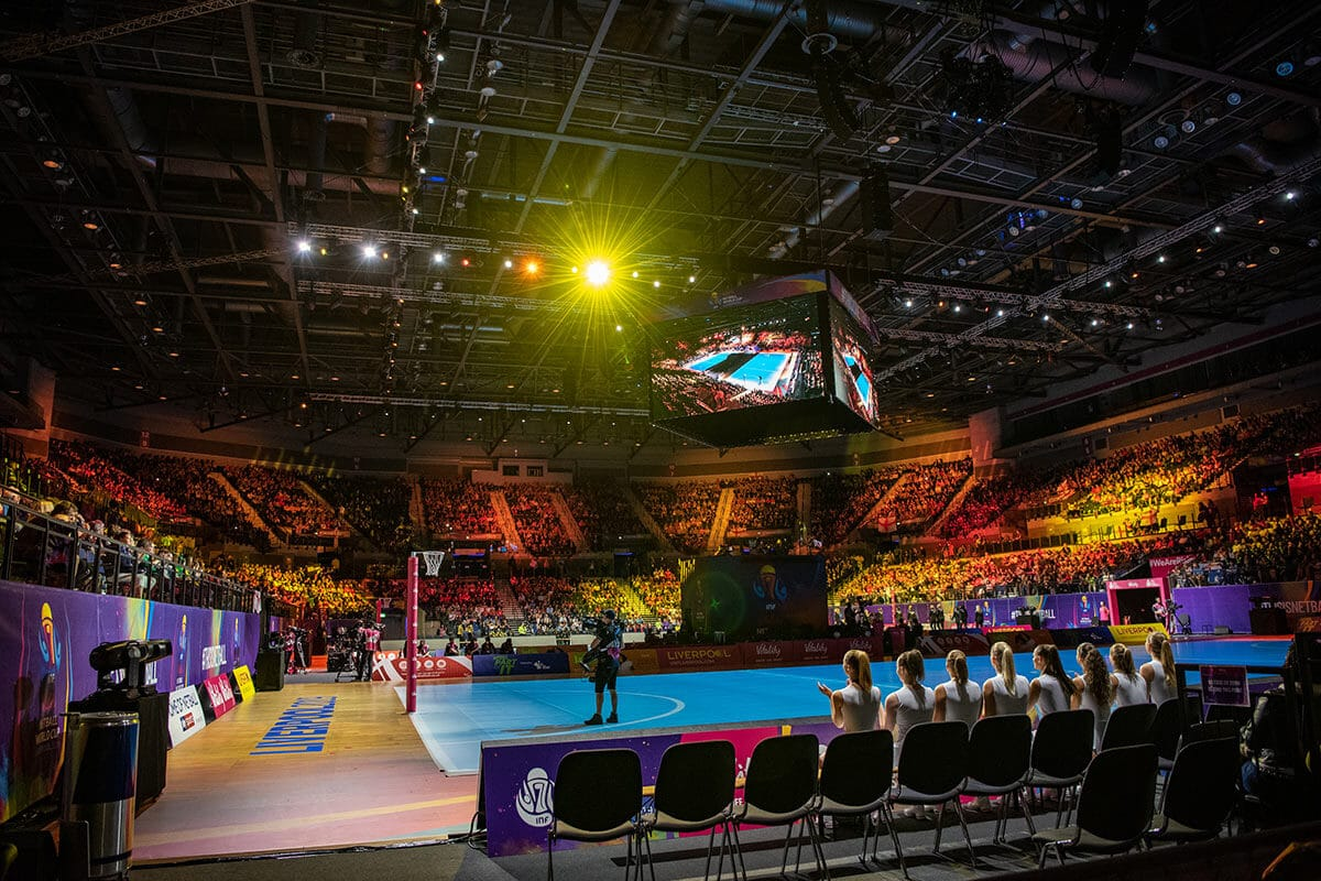A photo showing the packed stands at the M&S Bank Arena in Liverpool, during the opening ceremony of the Vitality Netball World Cup 2019