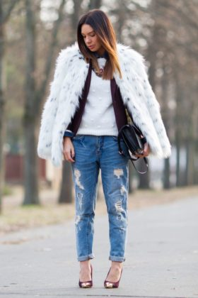 warm faux fur coat