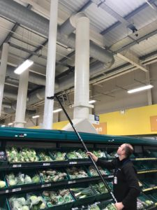 Internal high reach vacuum cleaning in a supermarket-2