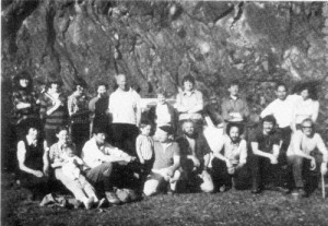 A society field trip to Nant-yr-Eira mine, Hafren Forest, Powys, Wales in May 1974.