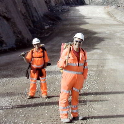 Members on field trip to Whatley quarry show the correct attire required for entering working quarries.