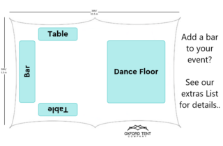 Oxford Tent Company 28x38 Marquee dancefloor and bar Oxford Tent Company