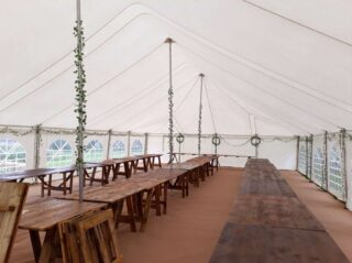 Inside Traditional marquee hire oxford Oxford Tent Company
