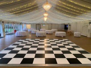 large black and white Dance Floor Oxford Tent Company