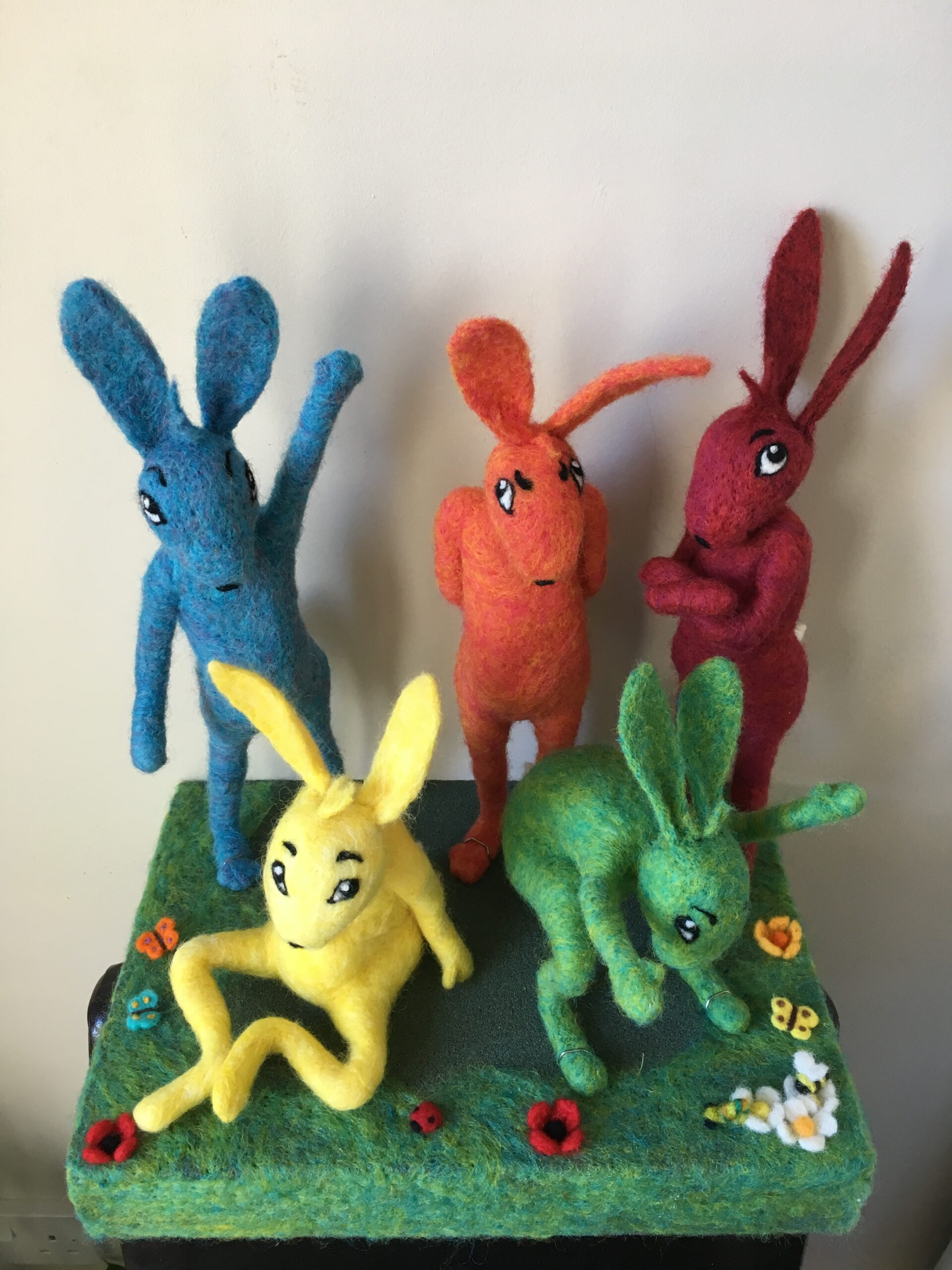 colourful needle felted hares
