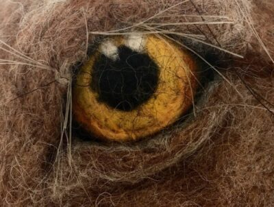 Close up of a needle felted hare eye