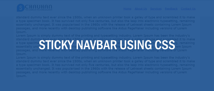 Sticky Navbar Using Css And Javascript