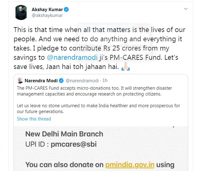 Akshay Kumar Tweeted has donated Rs 25 crore to PM-CARES fund for the welfare of the fund