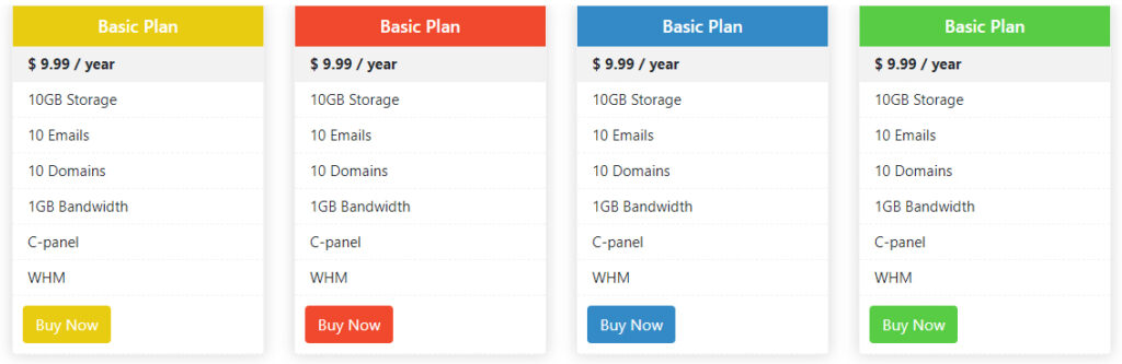 Bootstrap 4 Pricing Table