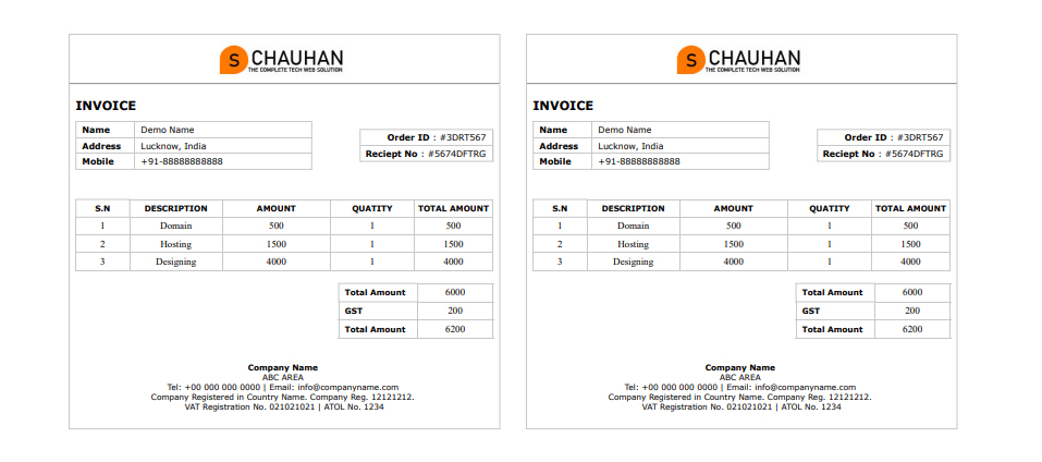 simple html invoice template free