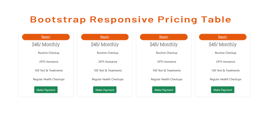 Bootstrap Responsive Pricing Table EcXamples