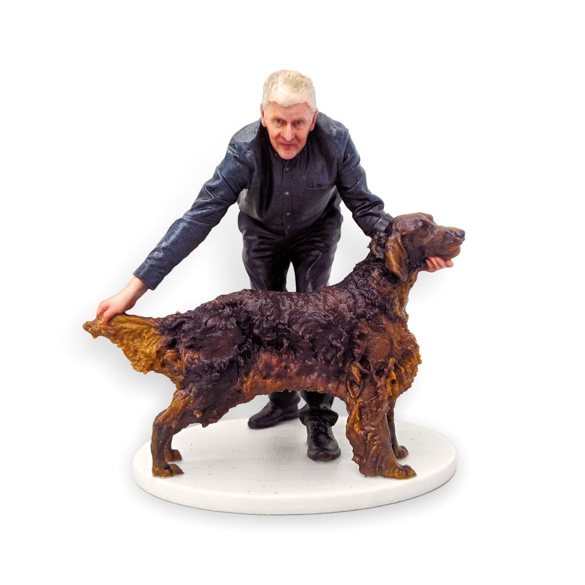 my3Dtwin, 3D Printed Figurine of a man who is presenting his dog at dog exhibition