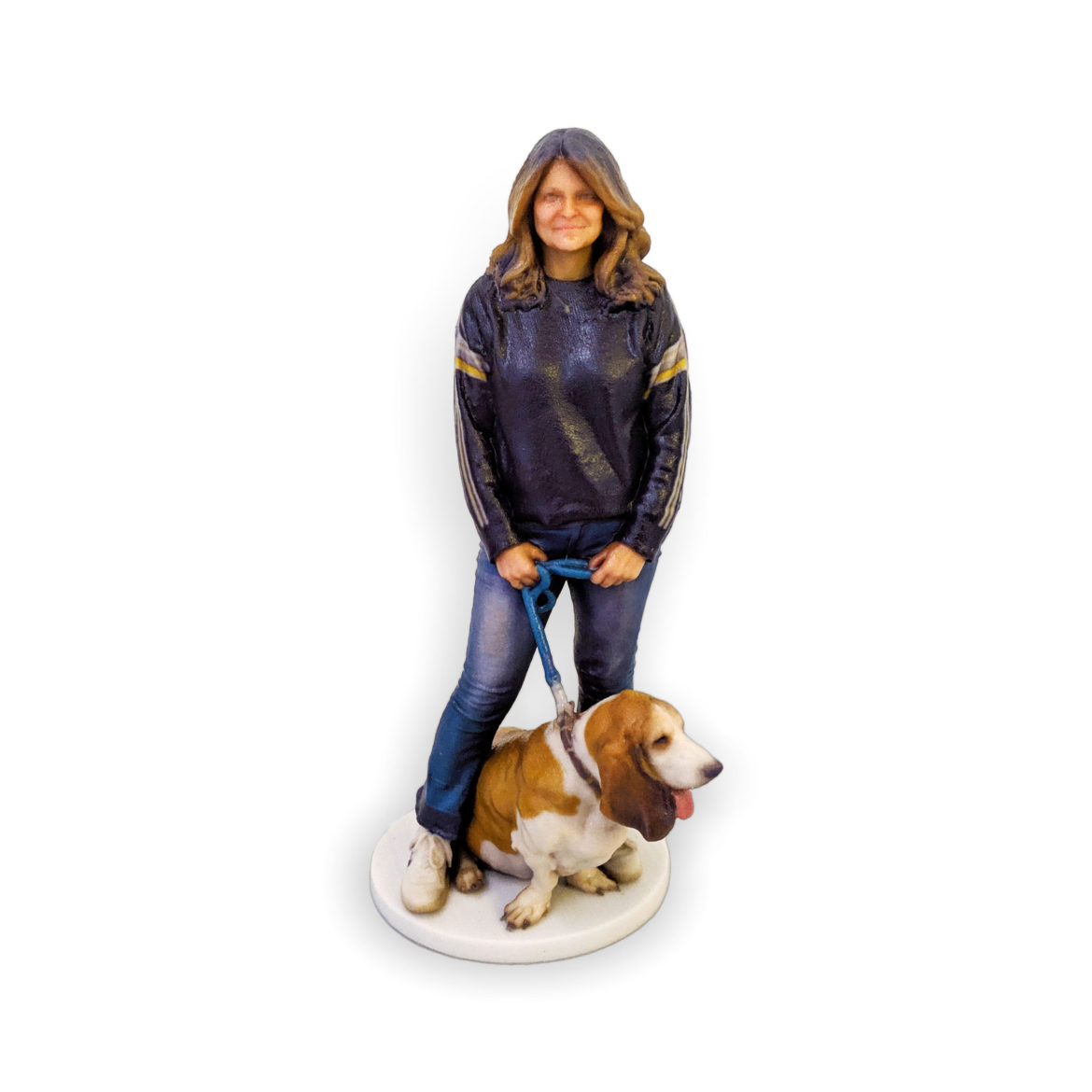 my3Dtwin, Figurine of a women with a dog on a blue leash