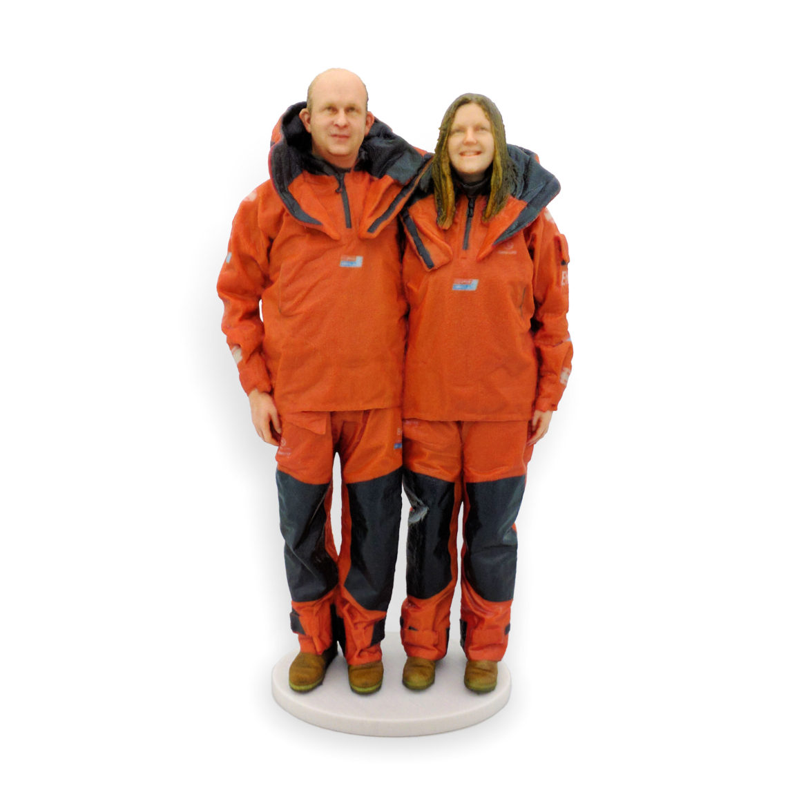 my3Dtwin, 3D Pinted Custom Figurines of a couple in orange overalls