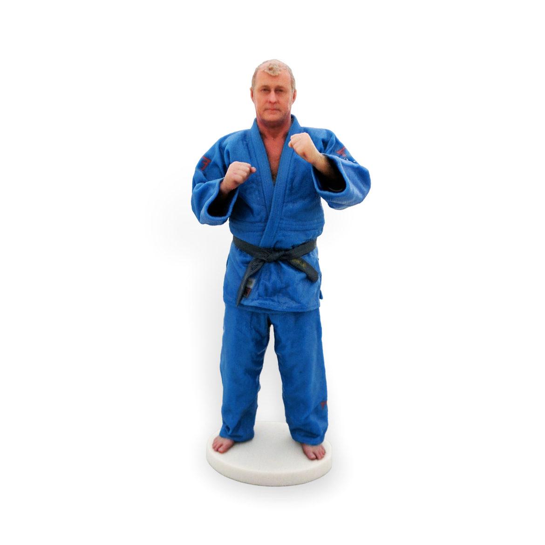 my3Dtwin, 3D Printed Custom Figurine of a man in blue karate kimono
