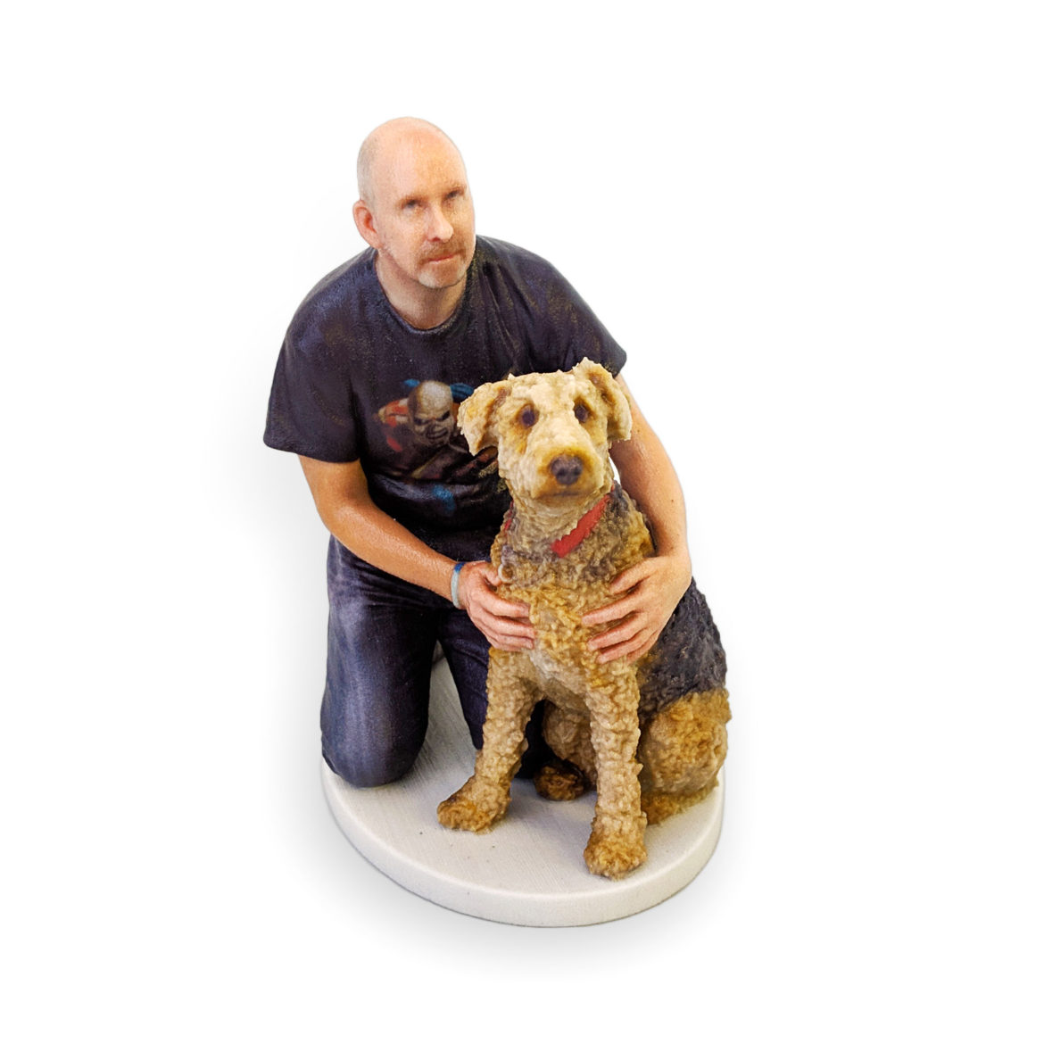 my3Dtwin, 3D Printed Dog Figurine with red collar and his owner